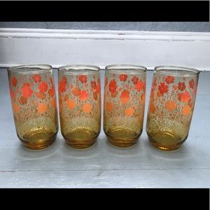 Set of 4 mid century ombré amber glasses
